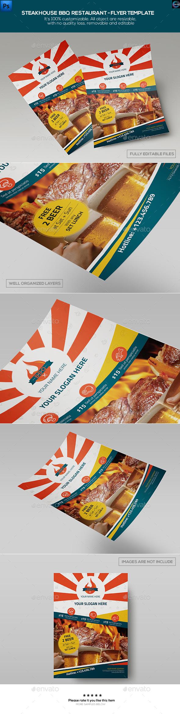 Steakhouse BBQ Restaurant - Flyer Template