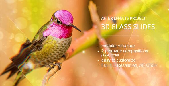 AE模板:优雅三维真实玻璃质感反射照片幻灯片展示模版Glass Slides 3D免费下载