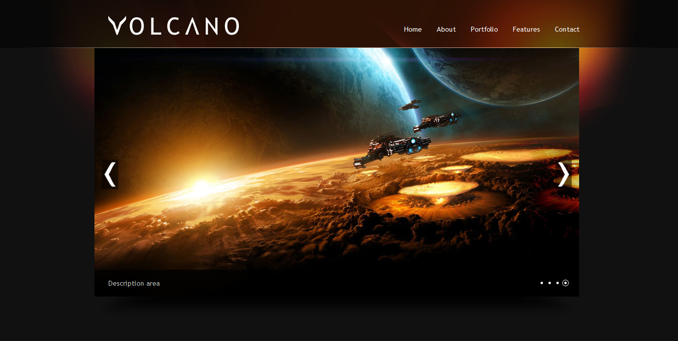 Volcano single page html template by valtinbas themeforest for Outer space guitar