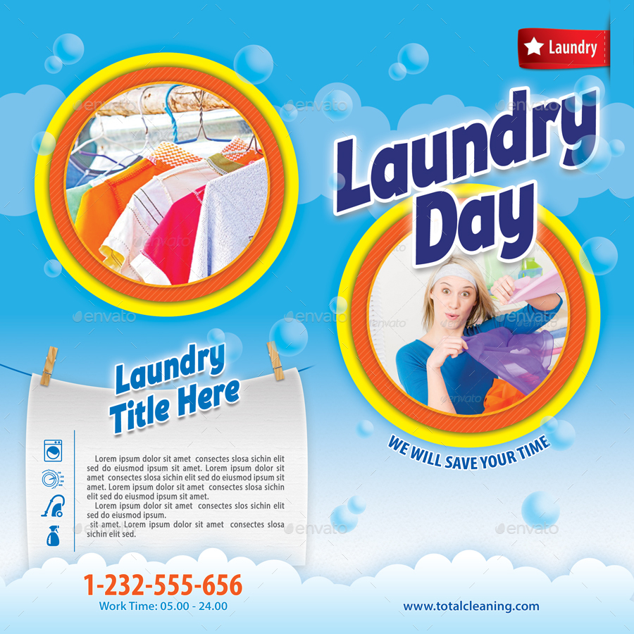 Laundry services bifold brochure 06 by 21min graphicriver for Ironing service flyer template