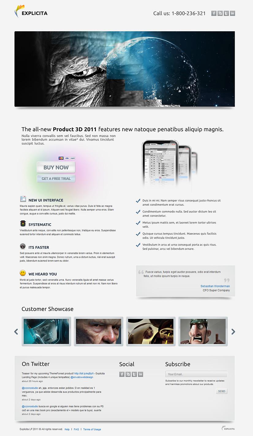 Explicita - Stylish & Explicit Landing Page (4in1)