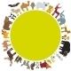 Round Frame. Animal Card Template. Bison Bat Fox