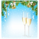 Sparkling Wine Jingle Bells and Pine Branches