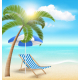 Beach with Palm Cloud Sun Beach Umbrella and Chair