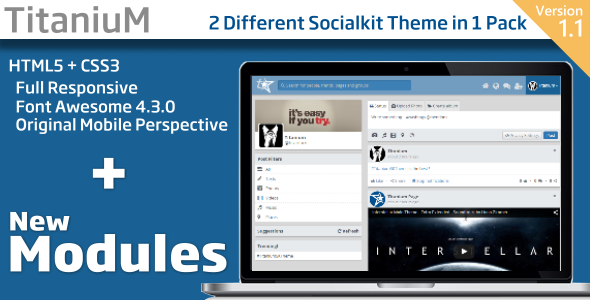 Titanium v1.1 (2 Theme in 1 Pack) Socialkit Theme