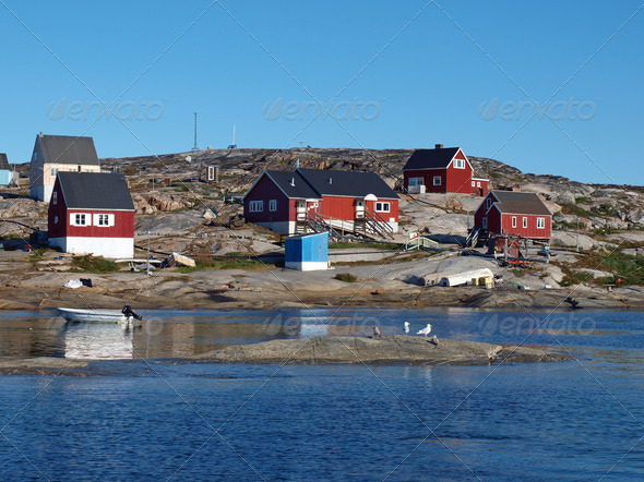 Oqaatsut fisher village, Greenland - Stock Photo - Images