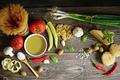 Italian and Mediterranean food ingredients on old wooden backgro
