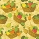 Seamless Pattern, Baskets And Fruits