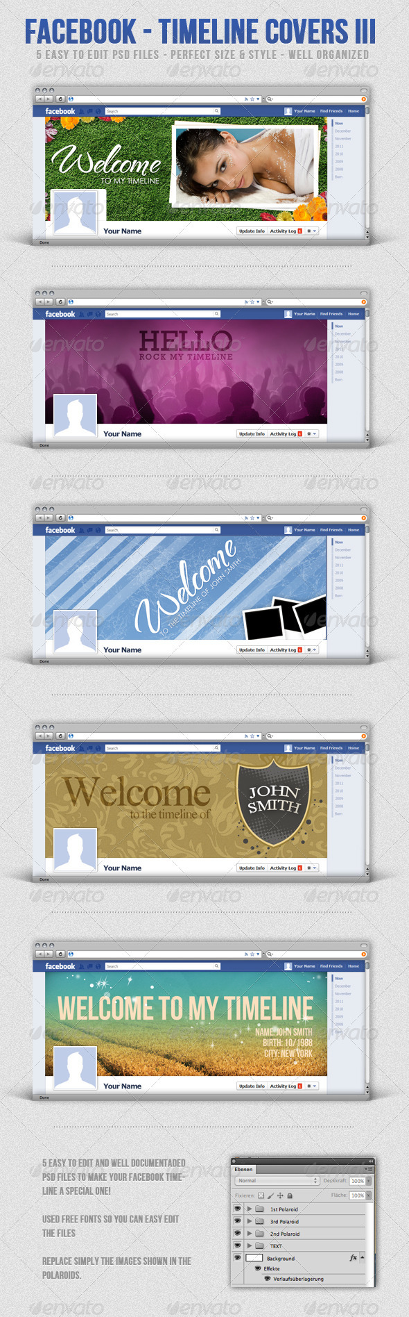 GraphicRiver Facebook Timeline Covers III 1313412