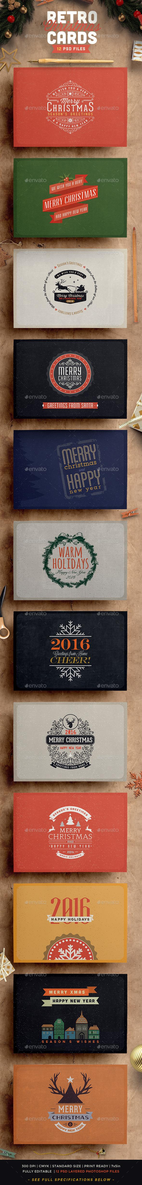 Retro / Vintage Christmas Card Pack