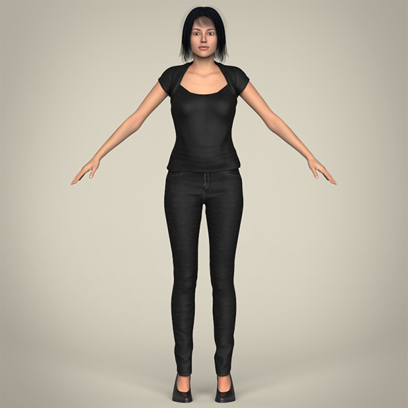 Realistic Beautiful Modern Woman - 3DOcean Item for Sale