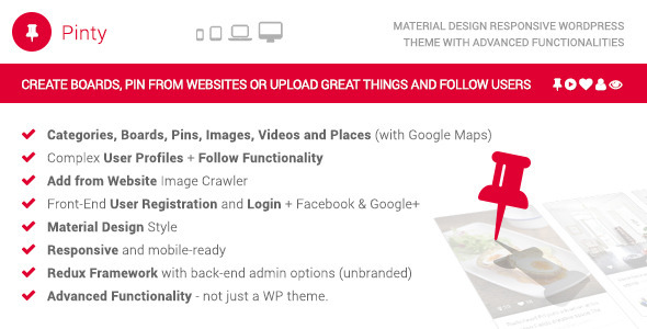 Download Pinty - Pins Responsive Material Design WP Theme nulled download