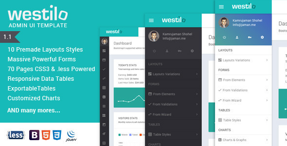 20. Westilo - Bootstrap Responsive Admin Template