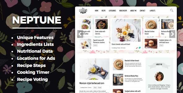 Download Neptune - Theme for Food Recipe Bloggers & Chefs nulled download