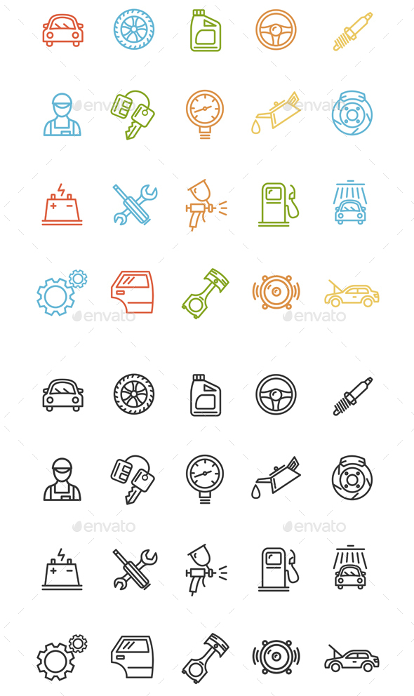 Car Service Outline Icons Set