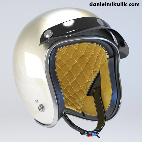 White Retro Motorcycle Helmet - 3DOcean Item for Sale
