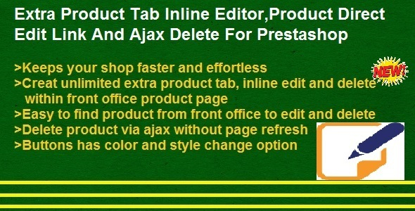 Product Direct Edit Link,Ajax Delete And Extra Product Tabs Inline Editor