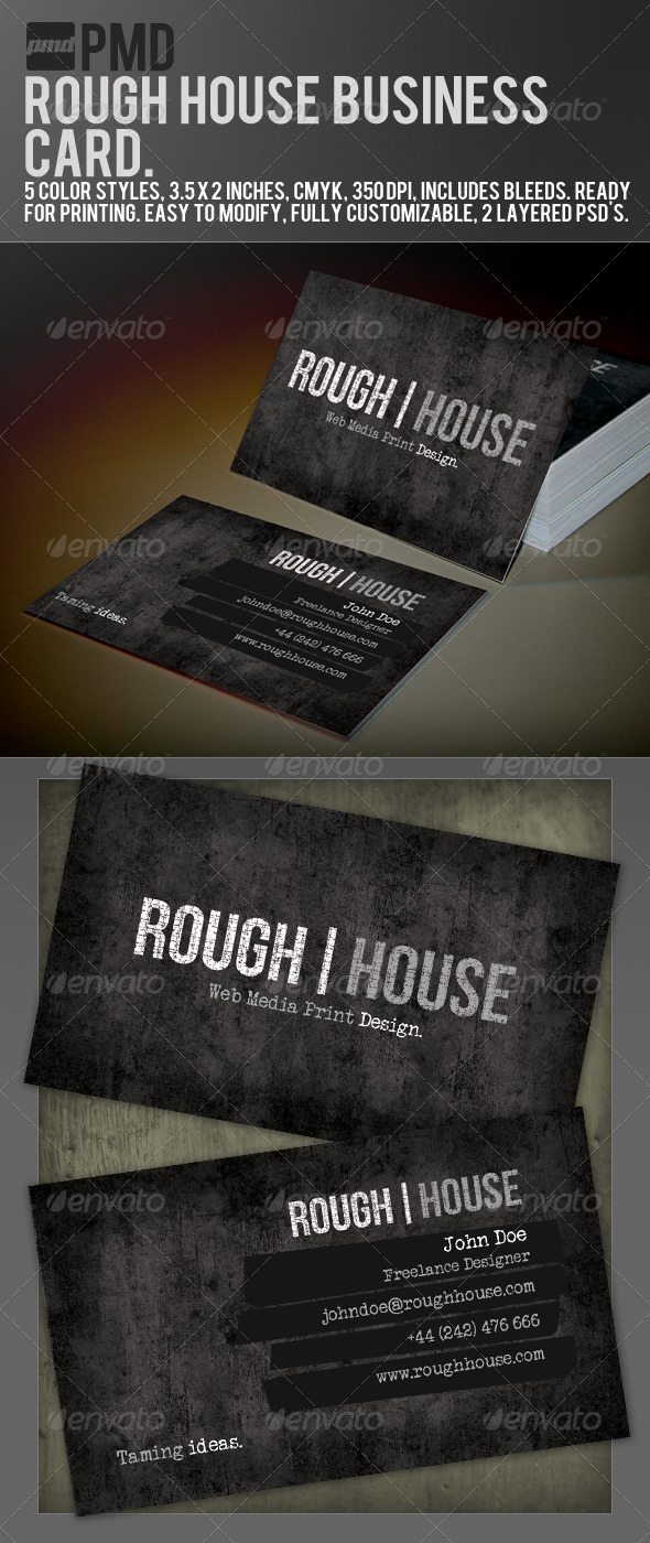 GraphicRiver PMD Rough House Grunge Business Card 157939