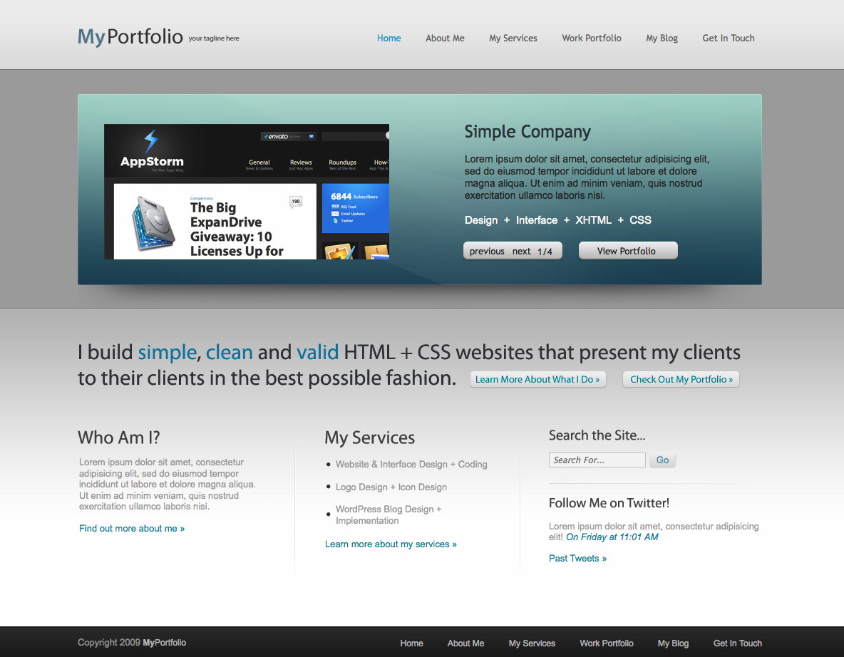 MyPortfolio - A Clean & Simple HTML + PSD Template