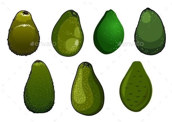 Dark Green Isolated Avocado Fruits