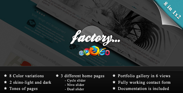 Factory - 8 in 1x2 - Business / Portfolio template