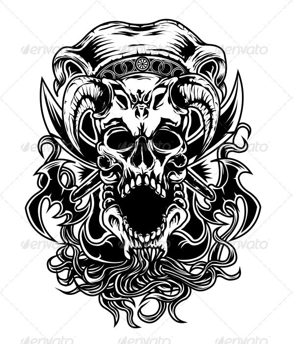 Armed Skull - Tattoos Vectors