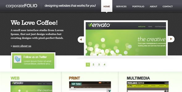 ThemeForest corporate Folio HTML Template 52197