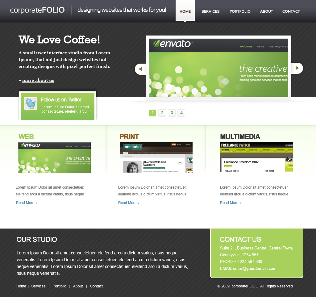 corporate Folio HTML Template - Index File