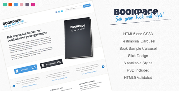 ThemeForest BookPage Sell your books with Style 158139