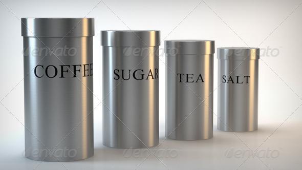 3DOcean Brushed Steel Canister Tea Coffee Salt Sugar 158144