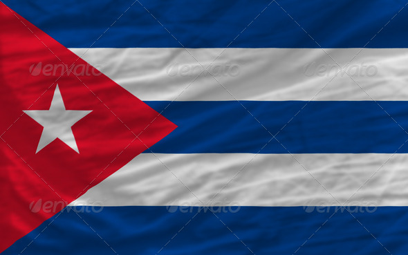 complete waved national flag of cuba for background - Stock Photo - Images