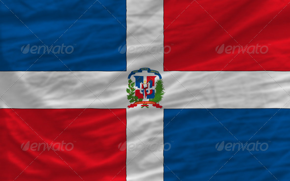 complete waved national flag of dominican for background - Stock Photo - Images