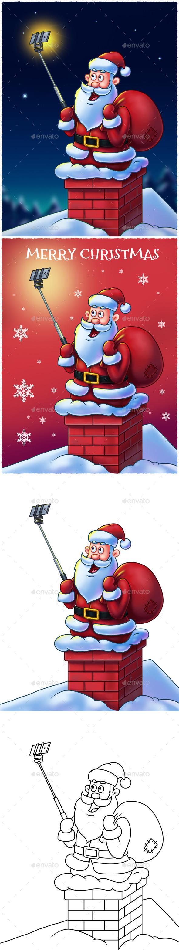 Santa Claus with Selfie Stick