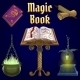 Open Magic Book and Set of Fairy Tale Elements