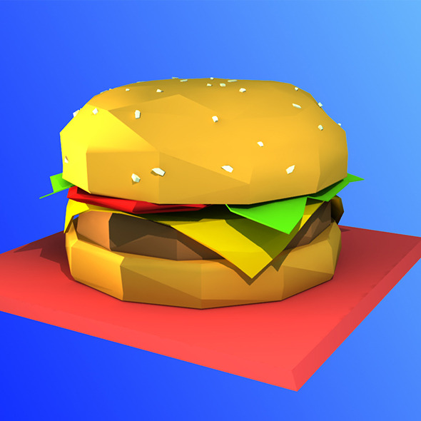Low Poly Hamburger Model - 3DOcean Item for Sale