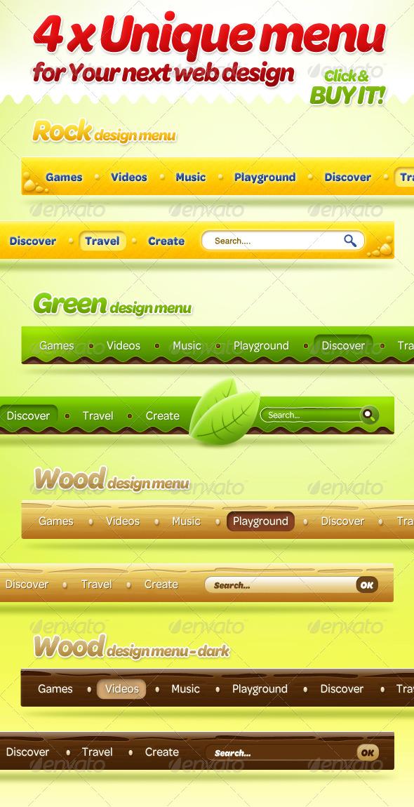 GraphicRiver 4 x Unique Menu Style for Your Next Web Design 158307