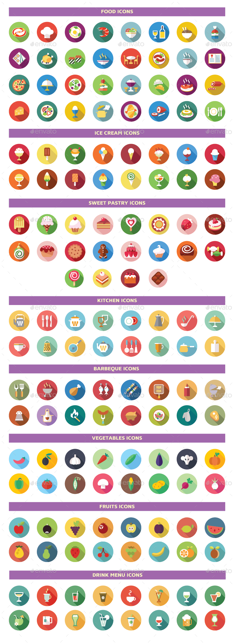 Universal Colorful Flat Icons By Iconsoul Graphicriver