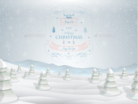 Christmas Greeting Card Template Vector.