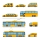 City Public Transport Icons Flat Set. Urban
