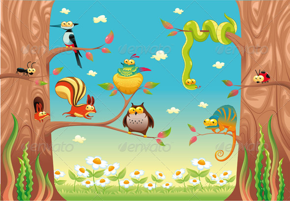 GraphicRiver Funny animals on branches 158359