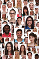 Background collage group portrait of multiracial young smiling people