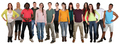 Happy smiling multi ethnic group of young people isolated