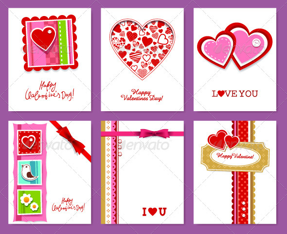 Vector set of valentine s day cards