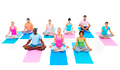 Group of People Exercising Yoga Wellbeing Concept