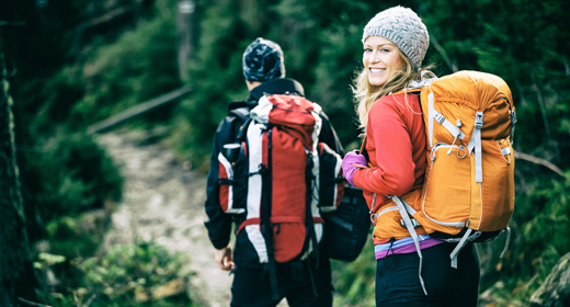 Hiking couple, people and outdoors activity