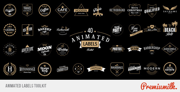 AE模板:180组高档复古婚礼徽章标签丝带动画字体设计MG模版Animated Labels Toolkit免费下载