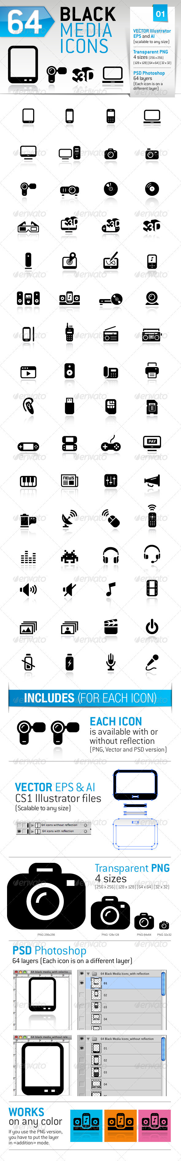 GraphicRiver 64 Black Media Icons 1322689