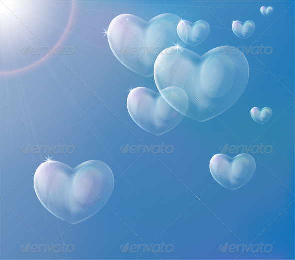 Hearts Soap Bubbles