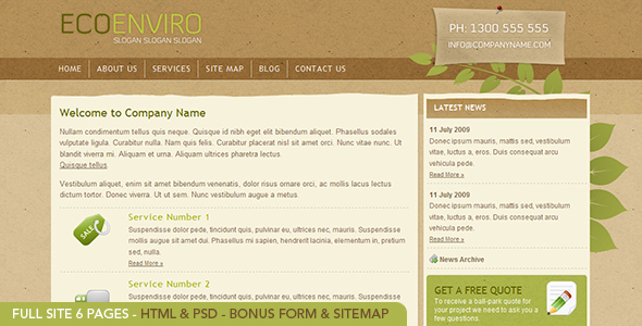 ThemeForest Eco Enviro Full HTML Site 6 pages PSD included 52623