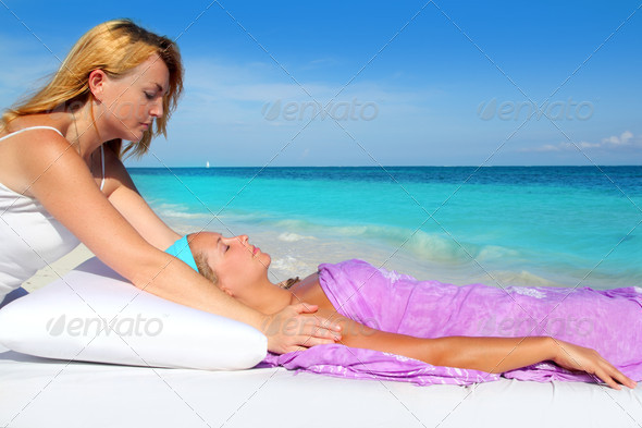 Mayan reiki massage in Caribbean beach woman - Stock Photo - Images